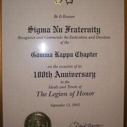 Gamma Kappa 100 year anniversary certificate
