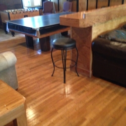 Newly refinished living room wood floors